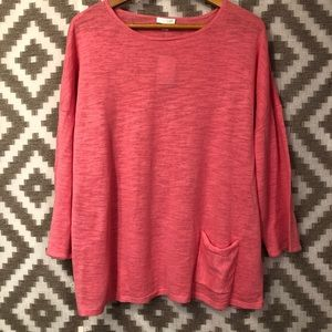 J. Jill Pink Linen Cotton Boxy Sweater Top